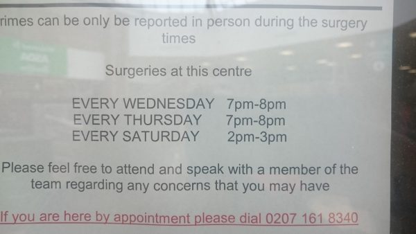 police opening times