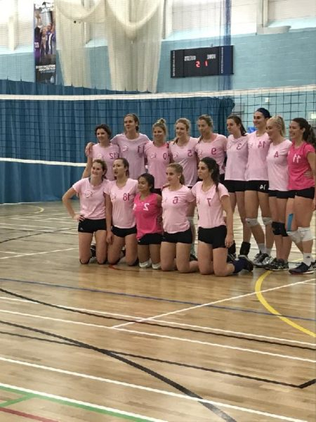 UEL women's volleyball team line up before the clash with Essex